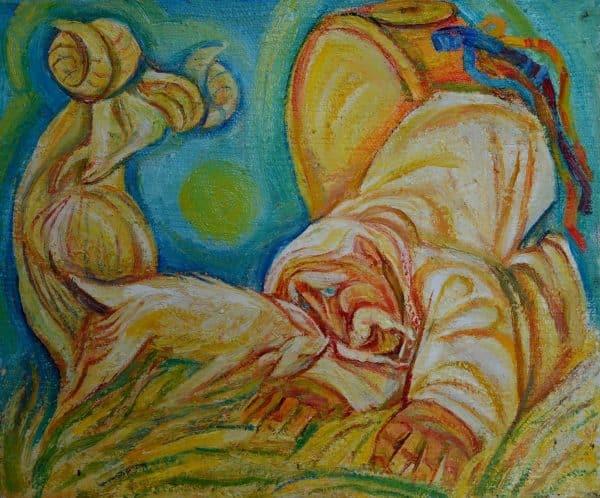 Картина Поєдинок, малярство на полотні, сільські сюжети