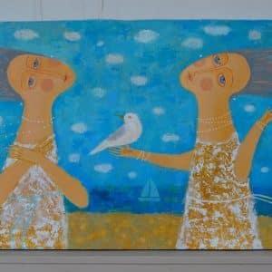 Картина На морі хмарно, розпис акрилом, море, дівчина, вітер