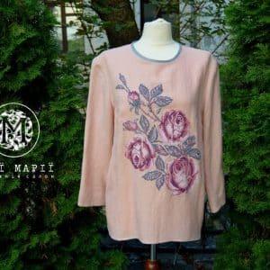 блуза троянда вишита вручну від Мрії Марії, сорочка з вишивкою