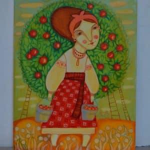Картина Урожай, яблуня, дівчина, картина по полотні