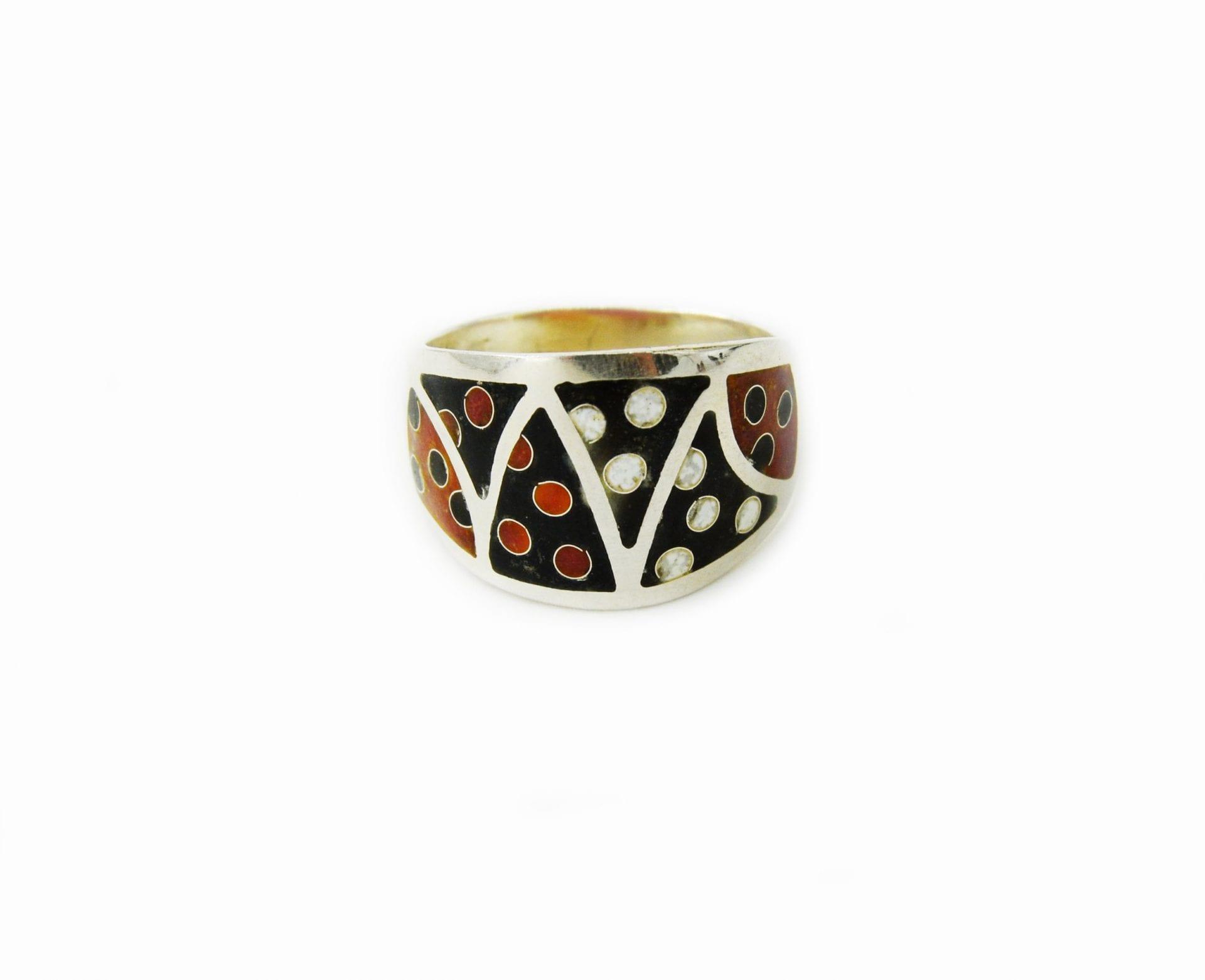 Перстень 136Р срібний з гарячою емаллю