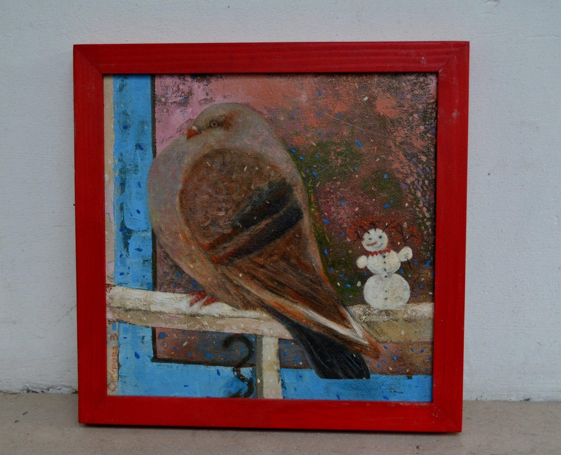 Картина Зимно, снігур, птах, полотно, олія