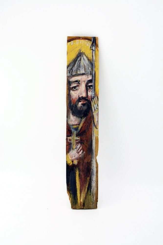 Ікона на гонті Святий Віктор, лики святих на дощеці