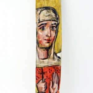 Ікона на гонті Свята Меланія, лики святих на дощеці