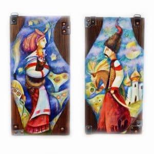 диптих, картина на дереві, левкас