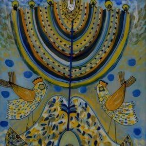 Картина Небесні птахи, живопис на склі, ханука
