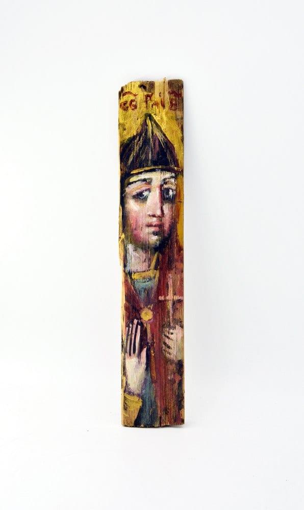 Ікона на гонті Святий Гліб, лики святих на дощеці