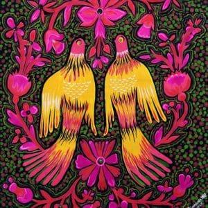 Картина Парочка, розпис гуашшю, пташки