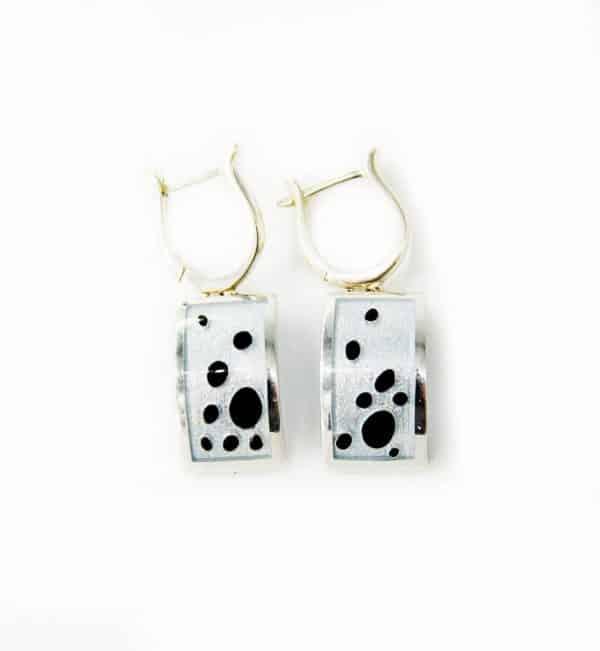 Сережки 157К, срібні кульчики з перебірчастою емаллю