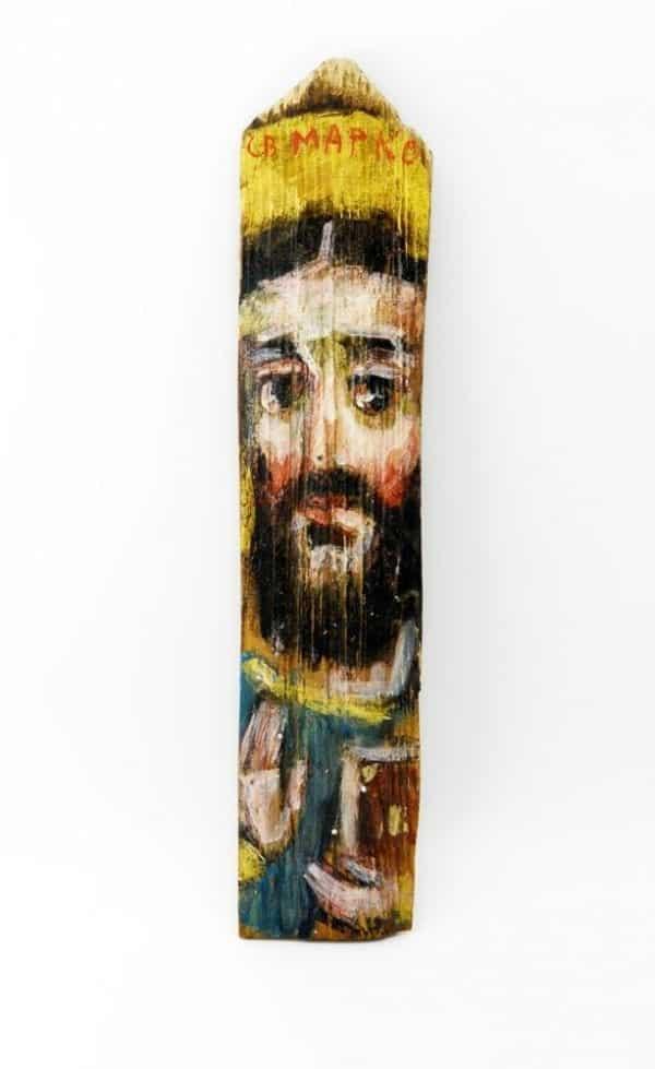 Ікона на гонті Святий Марко, лики святих на дощеці