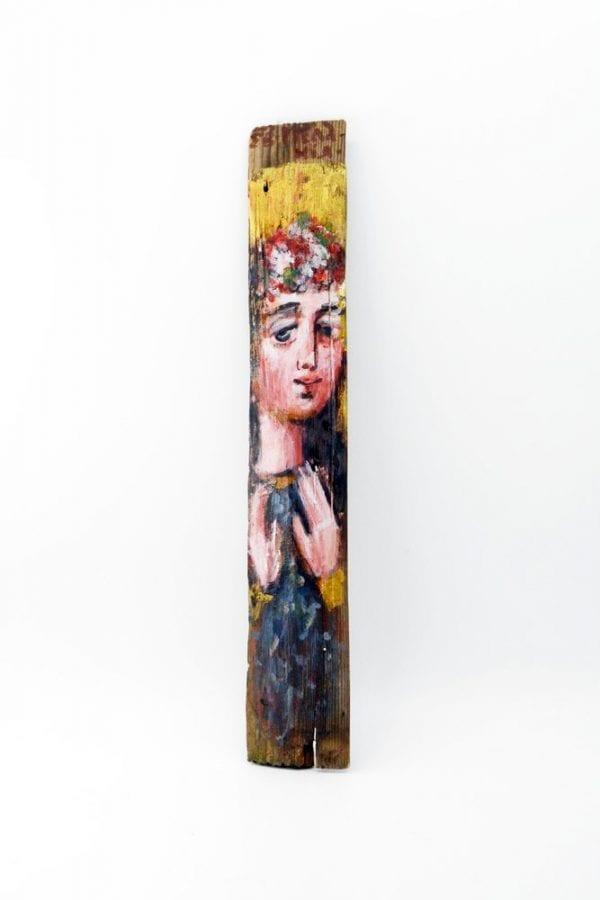 Ікона на гонті Меланія, лики святих на дощеці