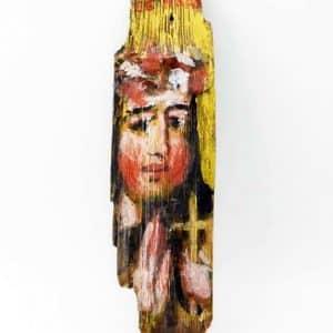 Ікона на гонті Свята Надія, лики святих на дощеці