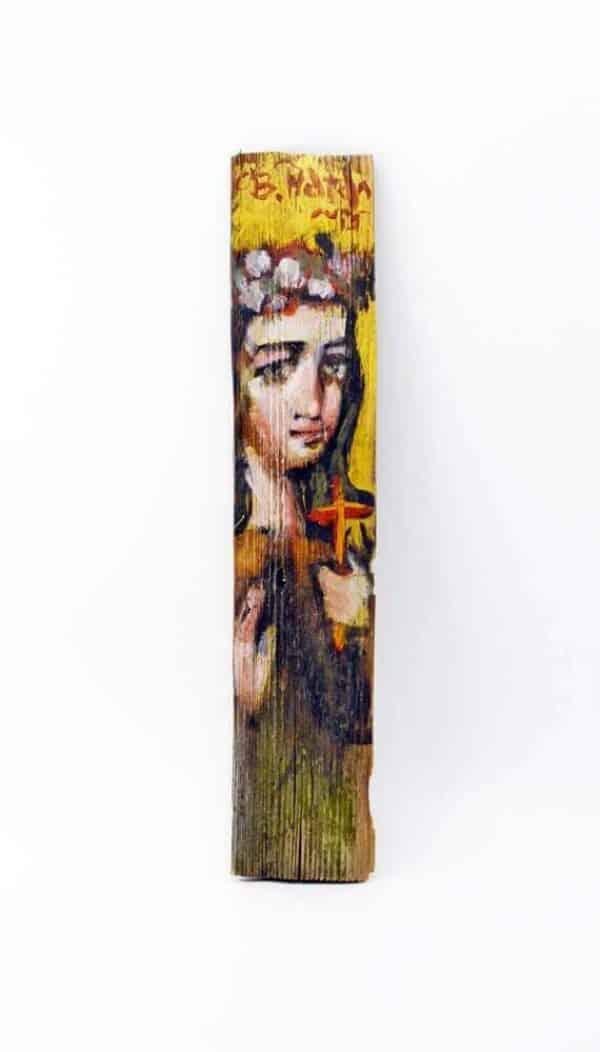 Ікона на гонті Свята Наталія, лики святих на дощеці