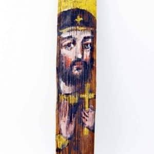 Ікона на гонті Святий Олег, лики святих на дощеці