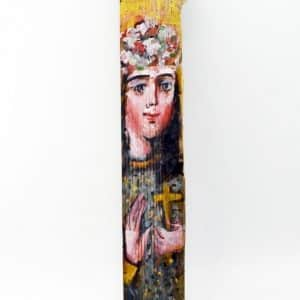 Ікона на гонті Свята Віра, лики святих на дощеці