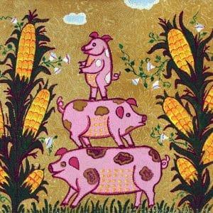 Картина Свинки в кукурудзі, не оформлені картини