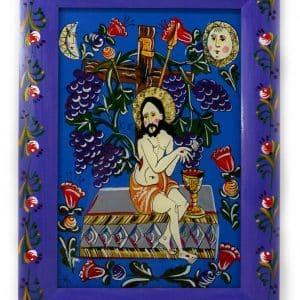 картина христос виноградна лоза, народна ікона на склі