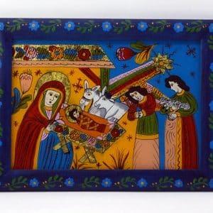 Картина Різдво, народна ікона, живопис на склі