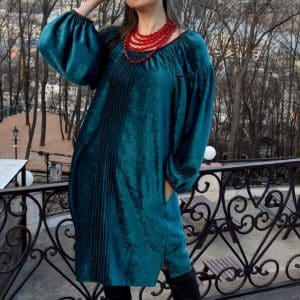 Сукня веснянка, двосторонній оксамит, ручна вишивка бісером