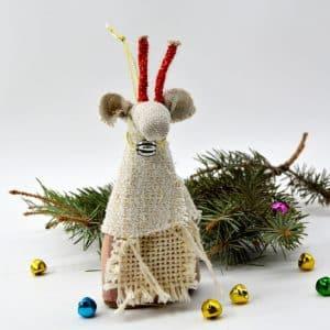 Іграшка на ялинку Коза, текстиль