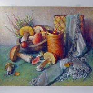 картина гриби, натюрморт, живопис, благодійність