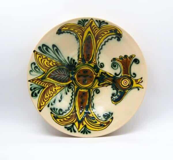 Таріль Пава, декор, керамічна розписна тарілка
