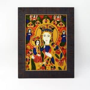Народна ікона Богородиця Одигітрія, ікона на склі