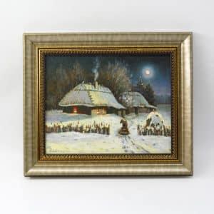 картина щедрий вечір, живопис, зима