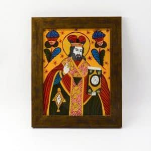 Народна ікона на склі Миколай, живопис на склі