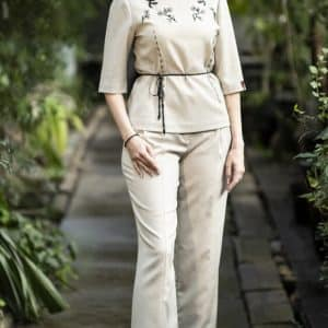 Набір Класичний, брюки, блуза з вовни, ручна вишивка