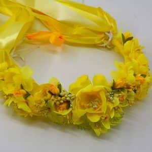 Вінок жовтий, для дружки, на весілля, головний убір